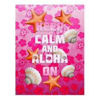 Behalten Sie Ruhe und Aloha an Postkarte