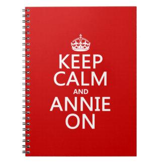 Behalten Sie Ruhe und Annie an Spiral Notizblock