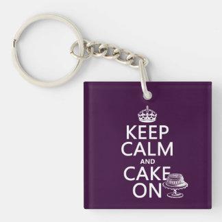 Behalten Sie Ruhe und backen Sie an zusammen Schlüsselanhänger