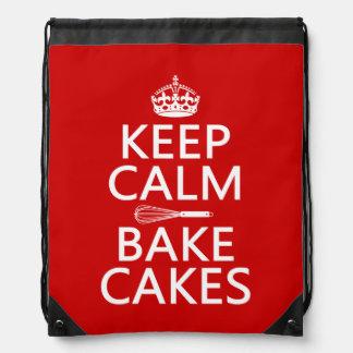 Behalten Sie Ruhe und backen Sie Kuchen Turnbeutel