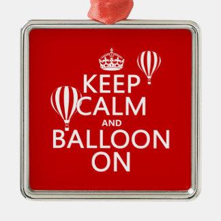 Behalten Sie Ruhe und Ballon auf (das Heißluftim Silbernes Ornament