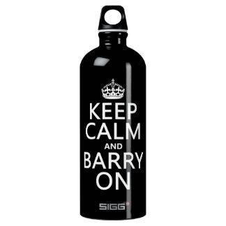 Behalten Sie Ruhe und Barry auf (irgendeine Farbe) Aluminiumwasserflasche