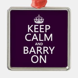 Behalten Sie Ruhe und Barry auf (irgendeine Farbe) Silbernes Ornament