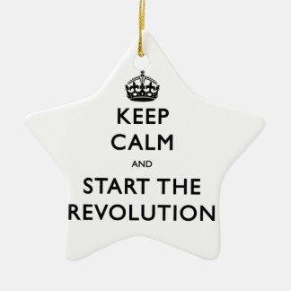 Behalten Sie Ruhe und beginnen Sie die Revolution Keramik Stern-Ornament