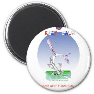 behalten Sie Ruhe und behalten Sie Ihren Kopf, Runder Magnet 5,1 Cm