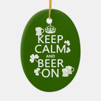 Behalten Sie Ruhe und Bier auf (Iren) (irgendeine Keramik Ornament