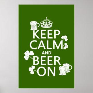 Behalten Sie Ruhe und Bier auf (Iren) (irgendeine Poster