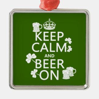 Behalten Sie Ruhe und Bier auf (Iren) (irgendeine Silbernes Ornament
