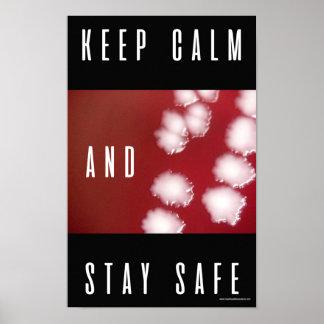 Behalten Sie Ruhe und bleiben Sie sicher. Poster