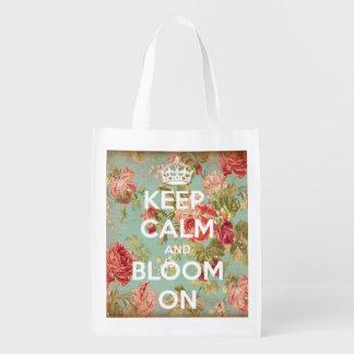 Behalten Sie Ruhe und Blüte auf Vintagem Wiederverwendbare Einkaufstasche