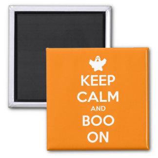 Behalten Sie Ruhe und Boo an Quadratischer Magnet