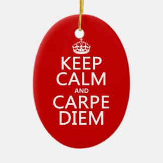 Behalten Sie Ruhe und Carpe Diem Keramik Ornament