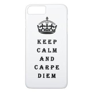 Behalten Sie Ruhe- und CarpeDiem Telefonkasten iPhone 8 Plus/7 Plus Hülle