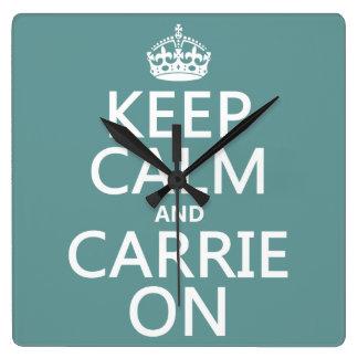 Behalten Sie Ruhe und Carrie auf (irgendeine Quadratische Wanduhr