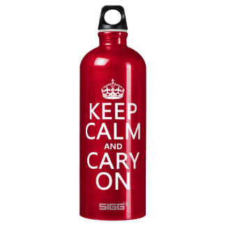 Behalten Sie Ruhe und Cary auf (irgendeine Farbe) Aluminiumwasserflasche