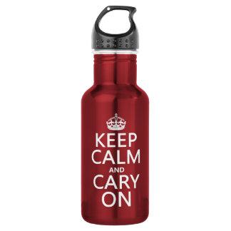Behalten Sie Ruhe und Cary auf (irgendeine Farbe) Edelstahlflasche