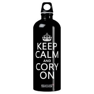 Behalten Sie Ruhe und Cory auf (irgendeine Farbe) Aluminiumwasserflasche