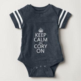 Behalten Sie Ruhe und Cory auf (irgendeine Farbe) Baby Strampler