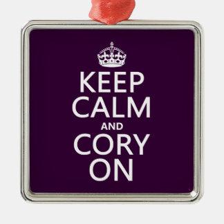 Behalten Sie Ruhe und Cory auf (irgendeine Farbe) Silbernes Ornament