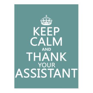 Behalten Sie Ruhe und danken Sie Ihrem Assistenten Postkarte