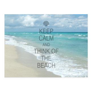 Behalten Sie Ruhe und denken Sie an den Strand Postkarte