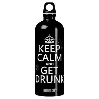 Behalten Sie Ruhe und erhalten Sie betrunken Aluminiumwasserflasche