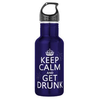 Behalten Sie Ruhe und erhalten Sie betrunken Trinkflasche