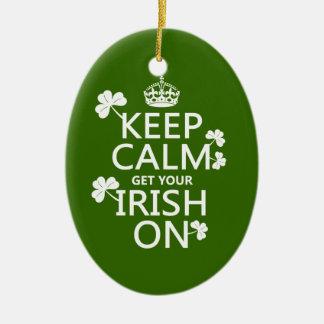 Behalten Sie Ruhe und erhalten Sie Ihre Iren auf Keramik Ornament