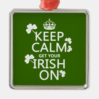 Behalten Sie Ruhe und erhalten Sie Ihre Iren auf Silbernes Ornament