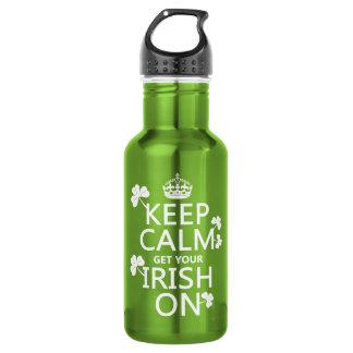 Behalten Sie Ruhe und erhalten Sie Ihre Iren auf Trinkflasche