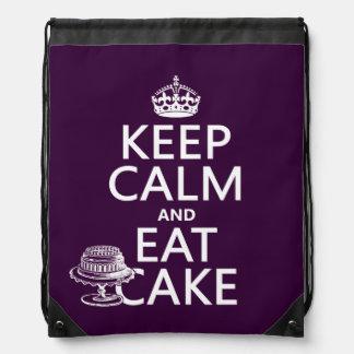 Behalten Sie Ruhe und essen Sie Kuchen Turnbeutel