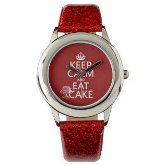 Behalten Sie Ruhe und essen Sie Kuchen Uhr