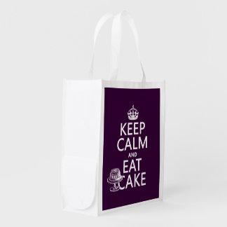 Behalten Sie Ruhe und essen Sie Kuchen Wiederverwendbare Einkaufstasche