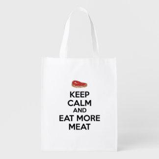 Behalten Sie Ruhe und essen Sie mehr Fleisch Wiederverwendbare Einkaufstasche