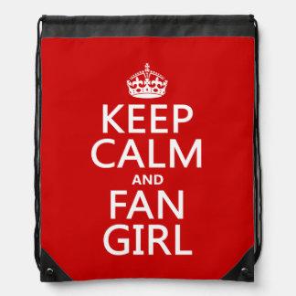 Behalten Sie Ruhe und Fan-Mädchen (in allen Sportbeutel