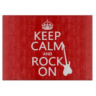 Behalten Sie Ruhe und Felsen auf (Gitarre) Schneidebrett