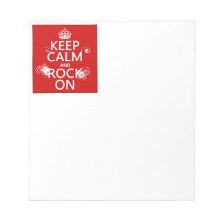Behalten Sie Ruhe und Felsen auf (irgendeine Notizblock