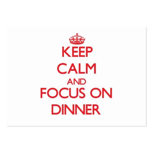 Behalten Sie Ruhe und Fokus auf Abendessen Visitenkartenvorlagen