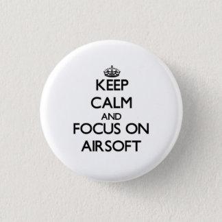 Behalten Sie Ruhe und Fokus auf Airsoft Runder Button 3,2 Cm