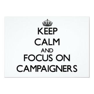 Behalten Sie Ruhe und Fokus auf Aktivisten Ankündigungskarte