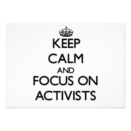 Behalten Sie Ruhe und Fokus auf Aktivisten Personalisierte Ankündigung