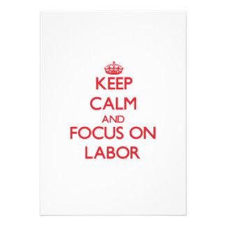 Behalten Sie Ruhe und Fokus auf Arbeit Individuelle Ankündigung