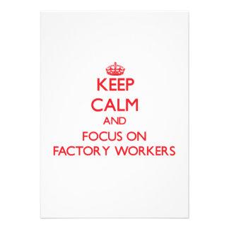 Behalten Sie Ruhe und Fokus auf Arbeitern Personalisierte Einladung