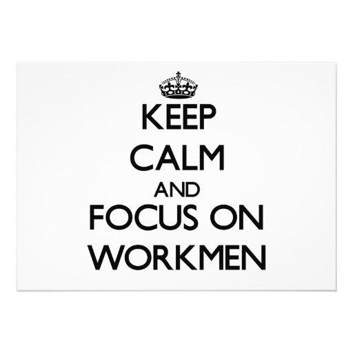Behalten Sie Ruhe und Fokus auf Arbeitern Individuelle Ankündigungskarte