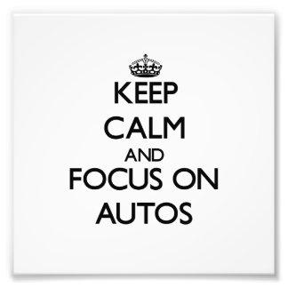 Behalten Sie Ruhe und Fokus auf Autos Kunstfoto