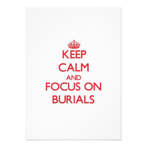 Behalten Sie Ruhe und Fokus auf Beerdigungen Ankündigungskarte