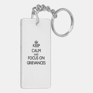 Behalten Sie Ruhe und Fokus auf Beschwerden Beidseitiger Rechteckiger Acryl Schlüsselanhänger