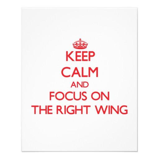 Behalten Sie Ruhe und Fokus auf dem rechten Flügel Flyer