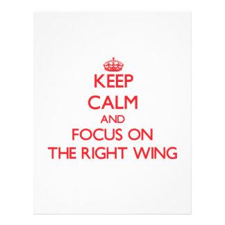 Behalten Sie Ruhe und Fokus auf dem rechten Flügel Flyerbedruckung