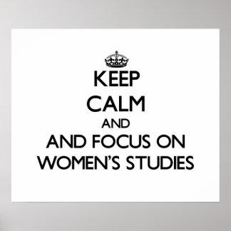 Behalten Sie Ruhe und Fokus auf den Studien der Plakate